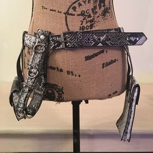 Snake Print Belt with Side Pouches